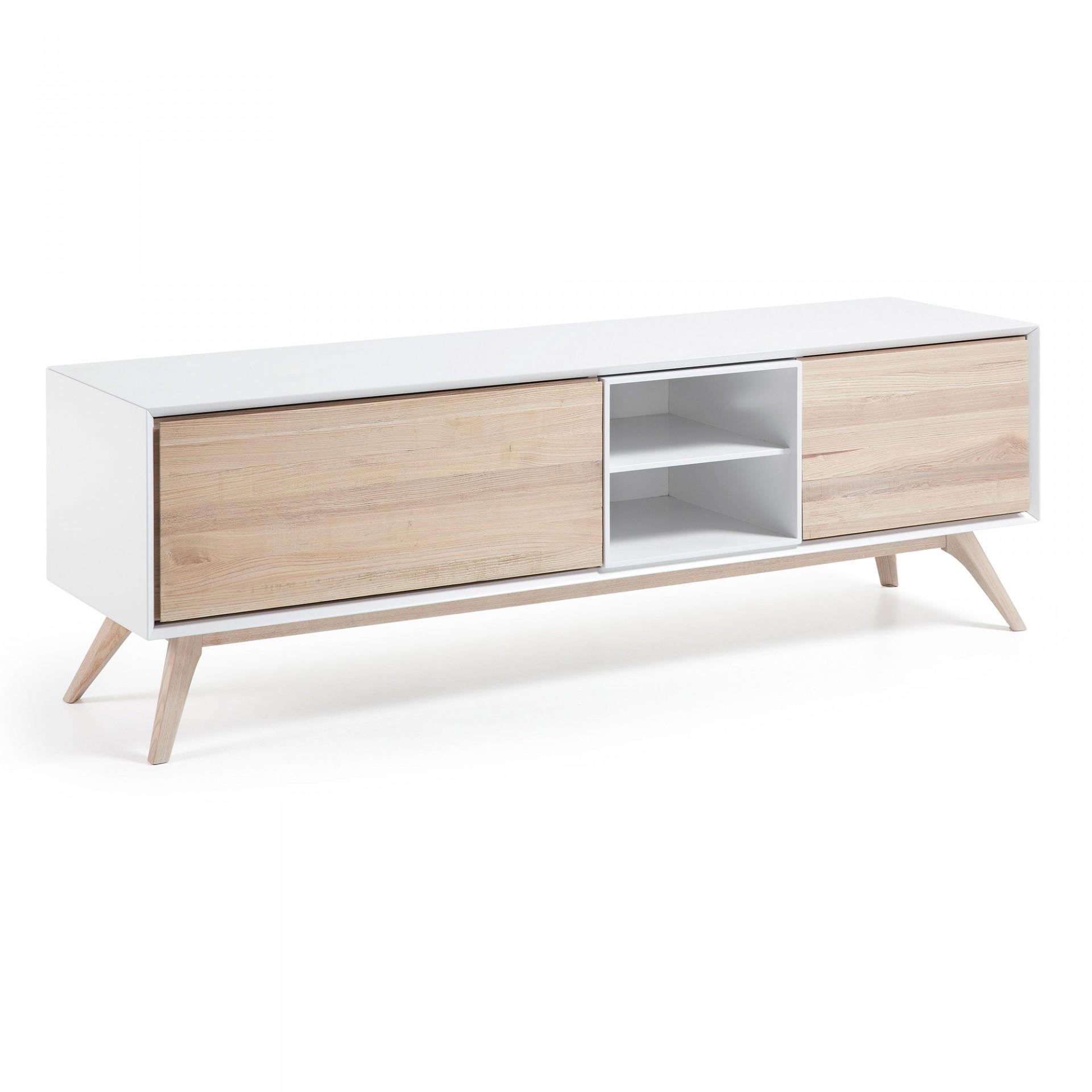 Móvel TV Emmi, madeira de freixo/MDF lacado, 174x56