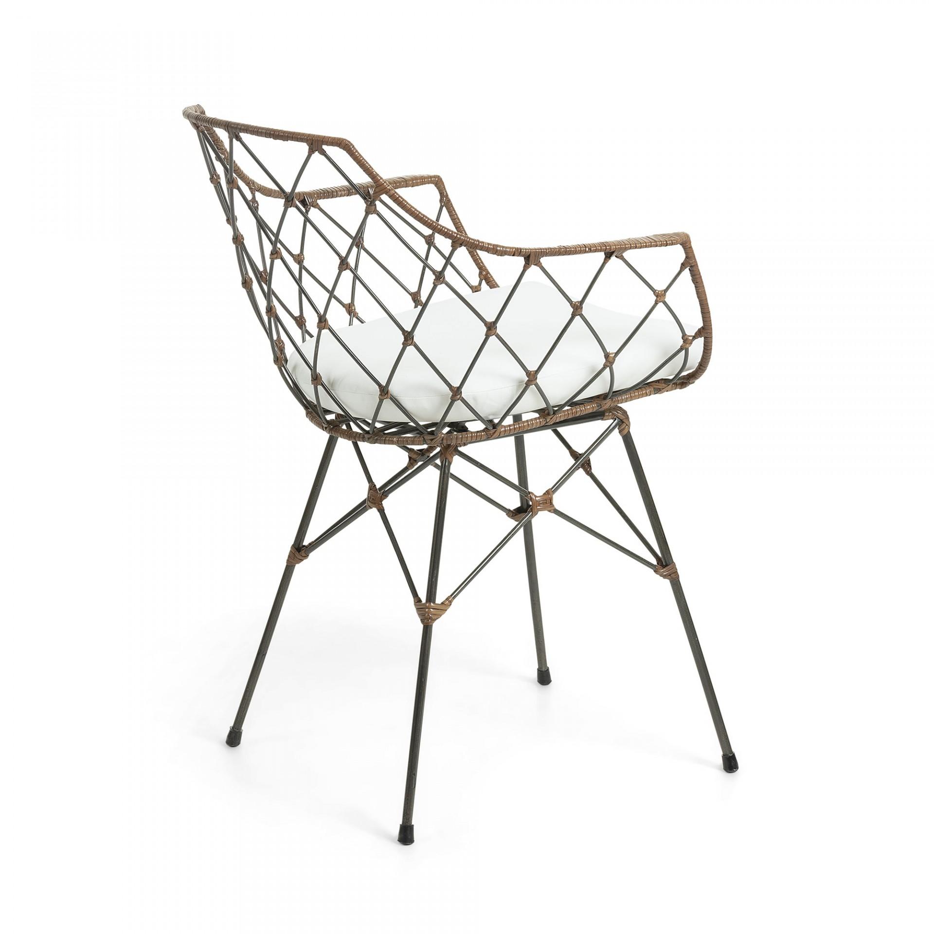 Cadeira Lux, c/almofada, metal/vime, 40x40x80