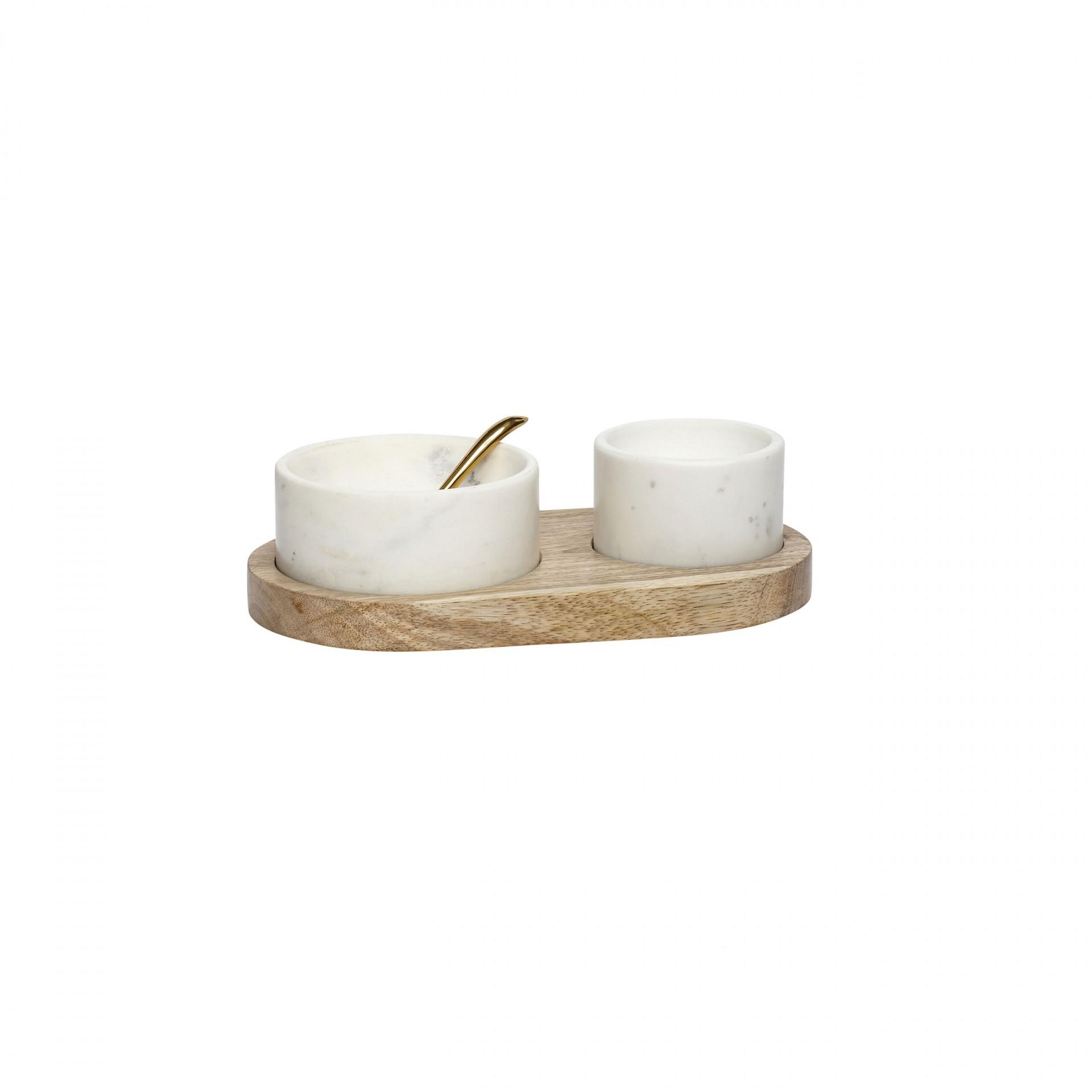 Potes de mármore c/base em madeira manga