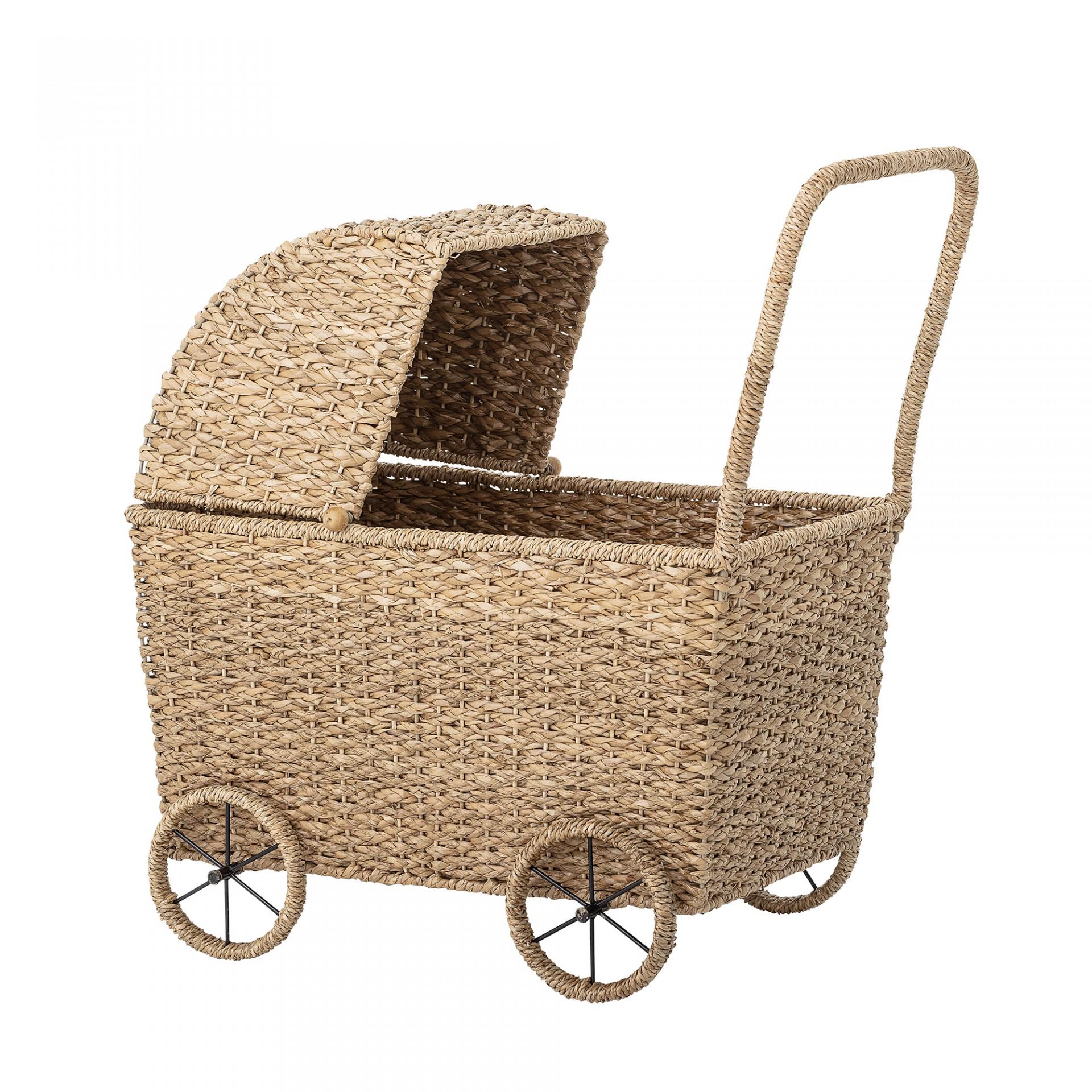 Mini carrinho de bonecas, vime natural