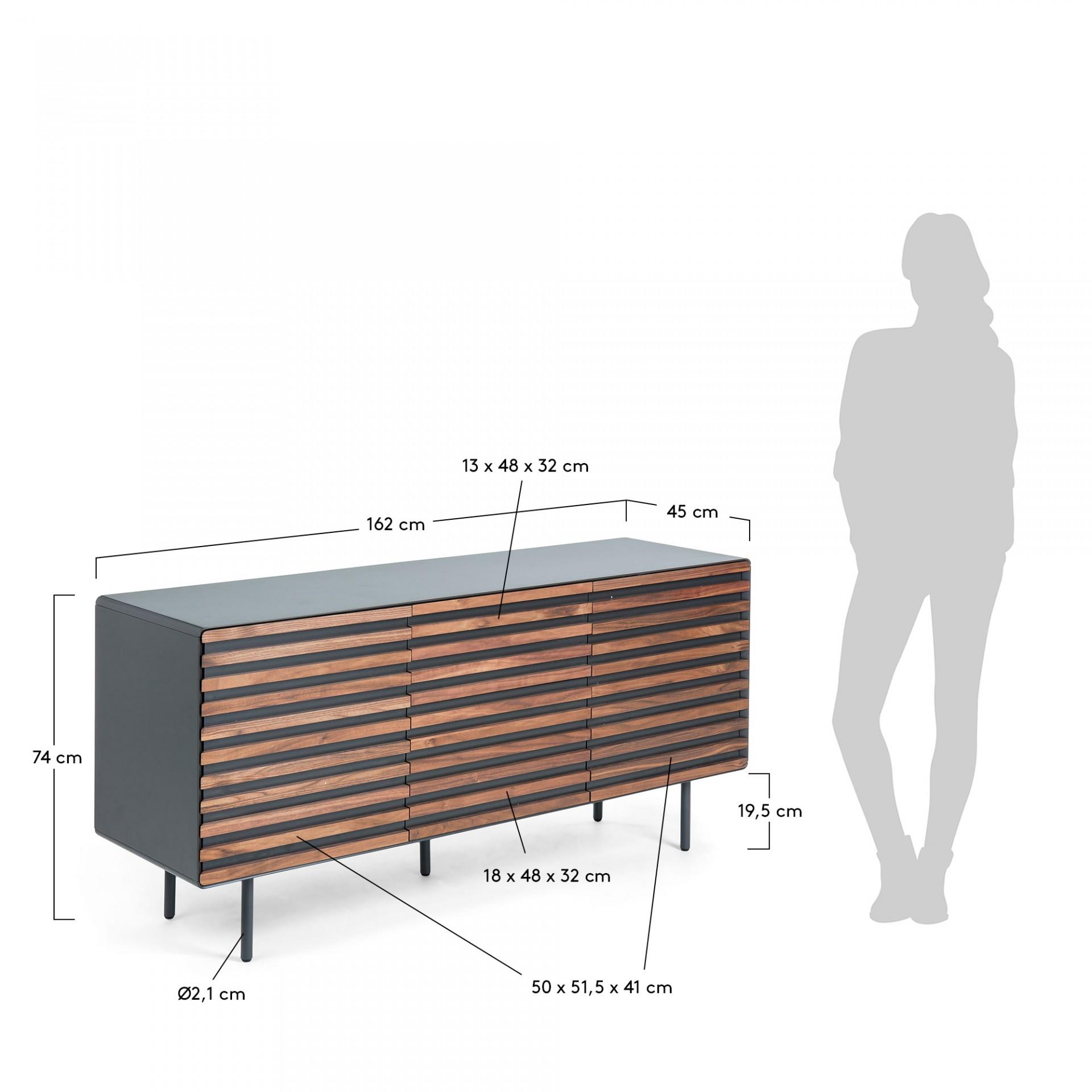 Aparador Kasia, MDF lacado/madeira de nogueira, 162x74