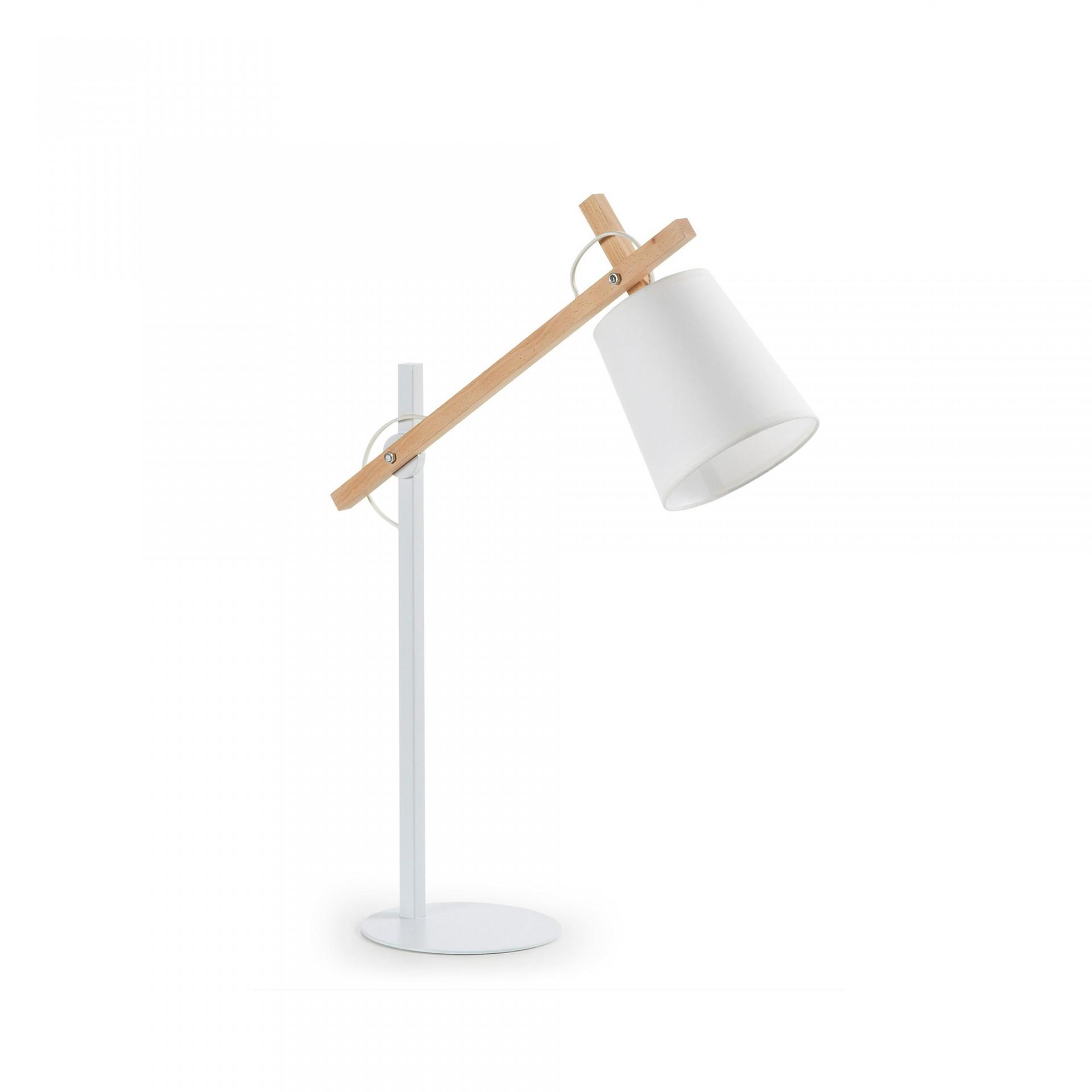 Candeeiro de mesa Zovik, madeira/metal, branco, Ø15x65