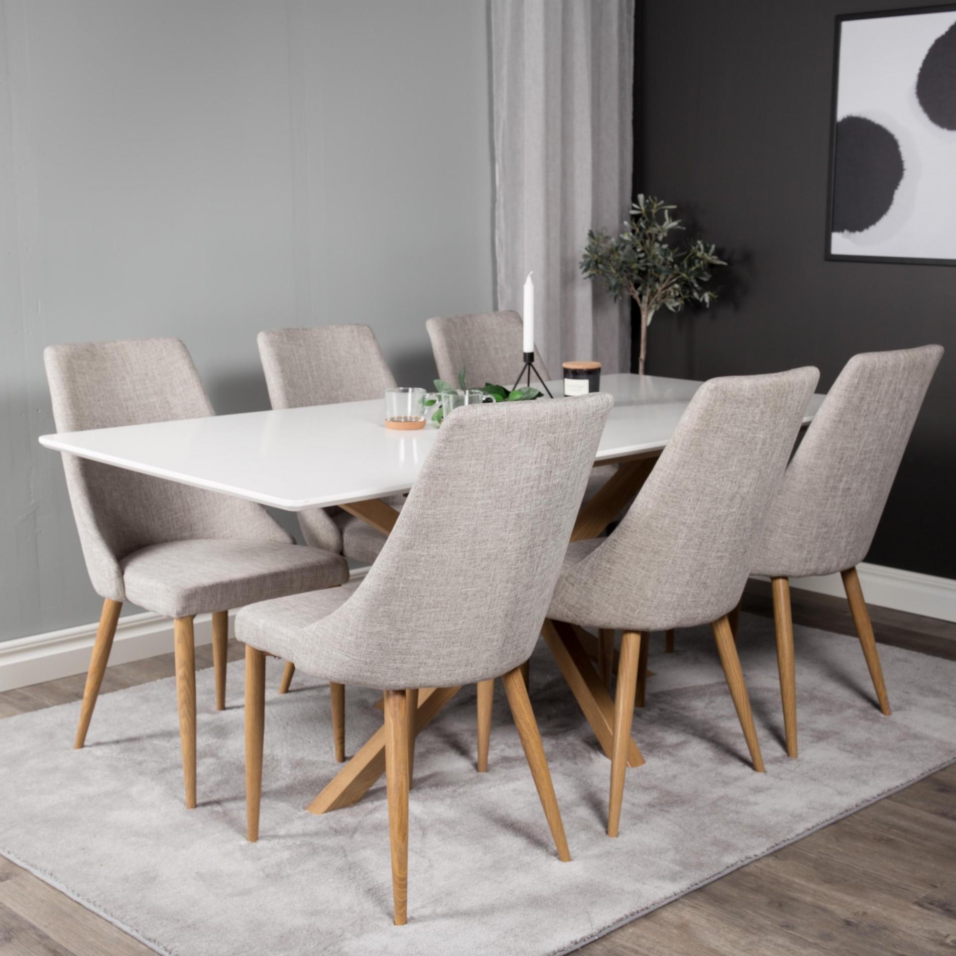 Mesa de jantar Piazza, MDF/metal, branco, 180x90