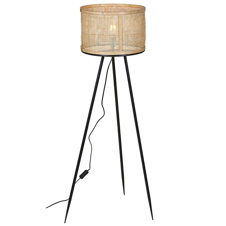 Candeeiro de pé Nómada, bambu/metal, Ø39x128