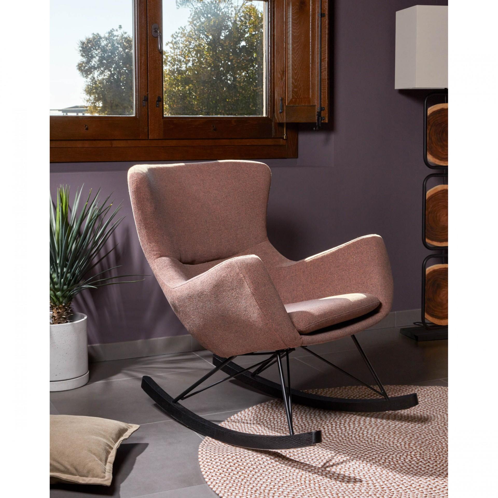 Cadeira de baloiço Tilia, estofado, marron