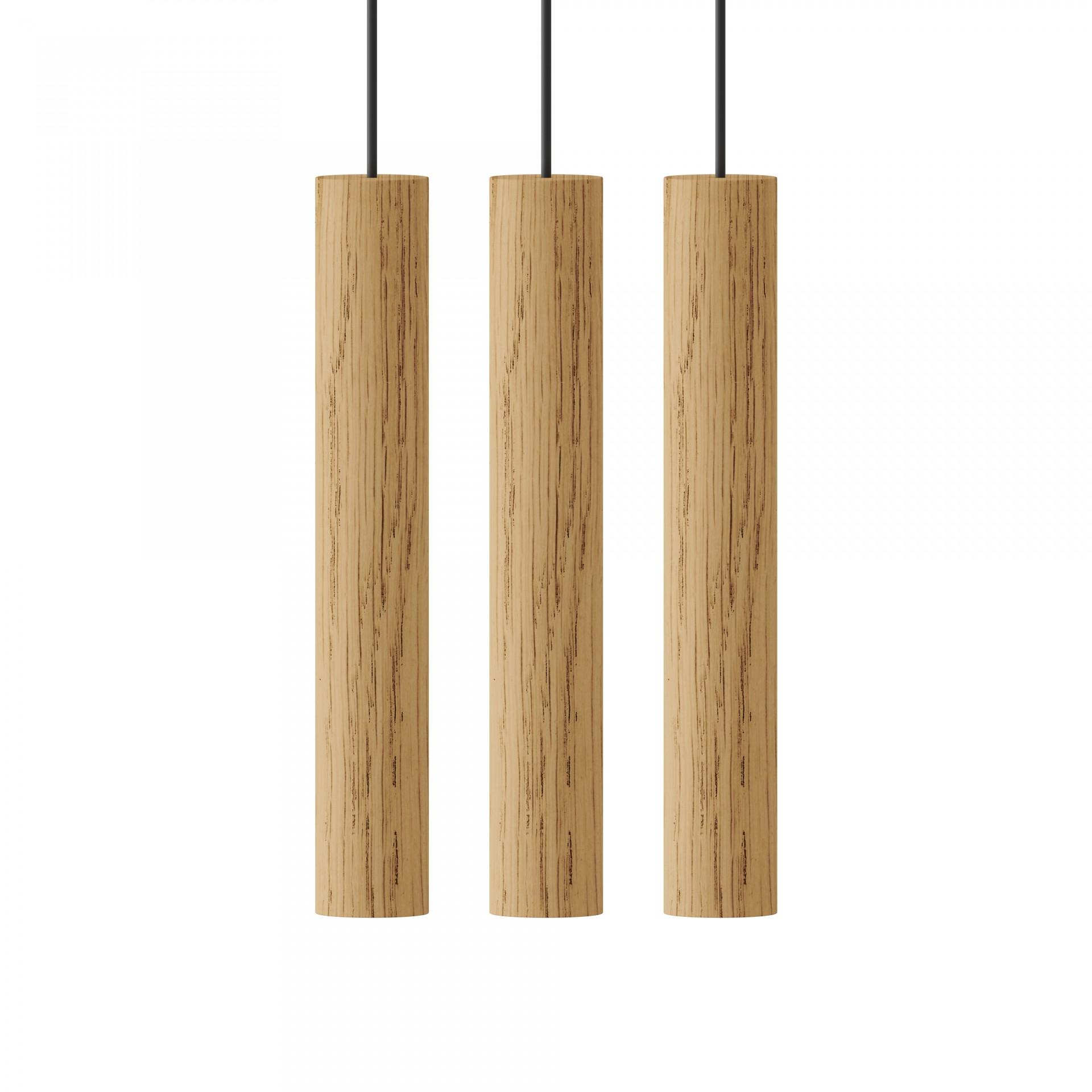 Candeeiro de tecto Chimes Cluster, madeira de carvalho, (Conj.3)