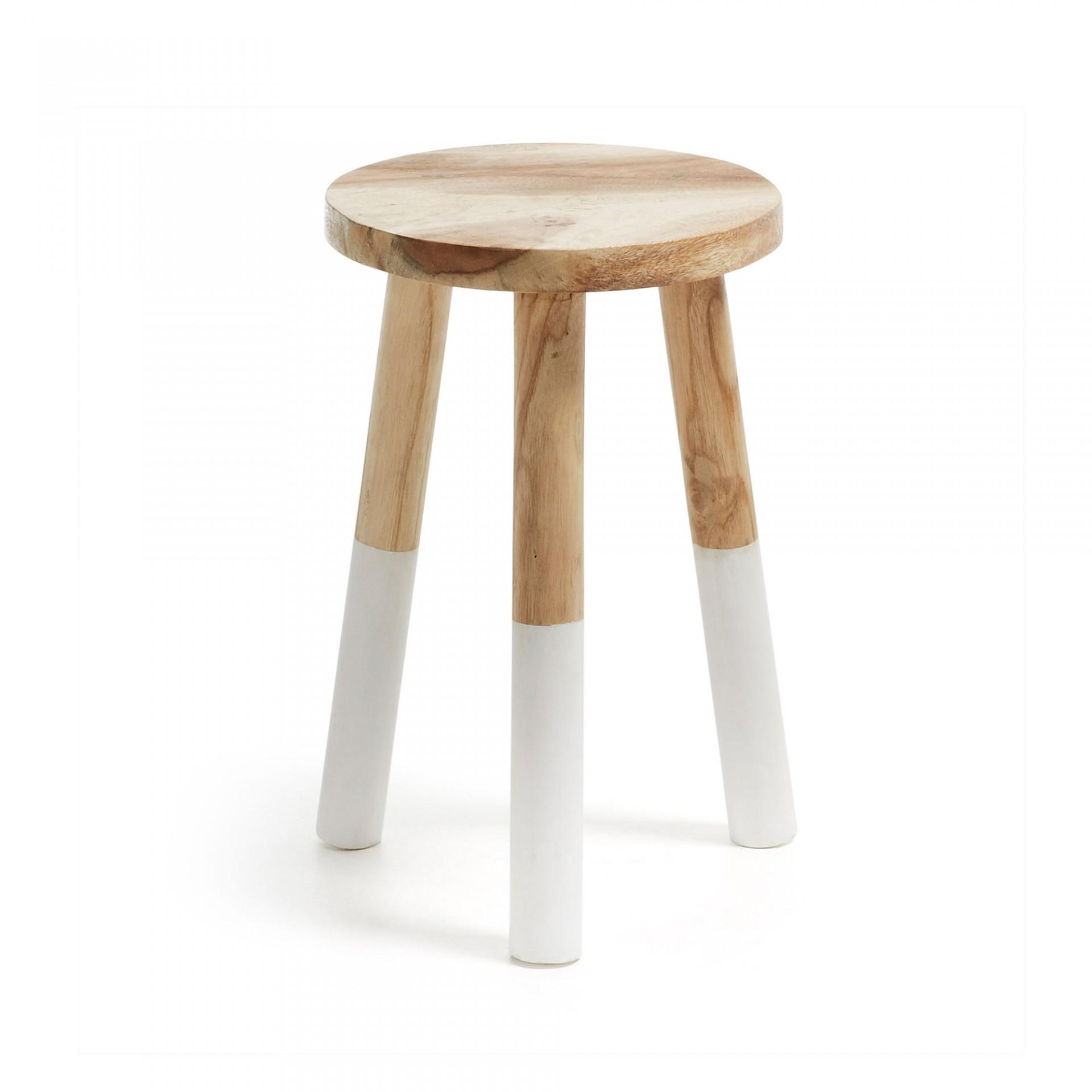 Tamborete Bross, madeira munggur natural, Ø30x44