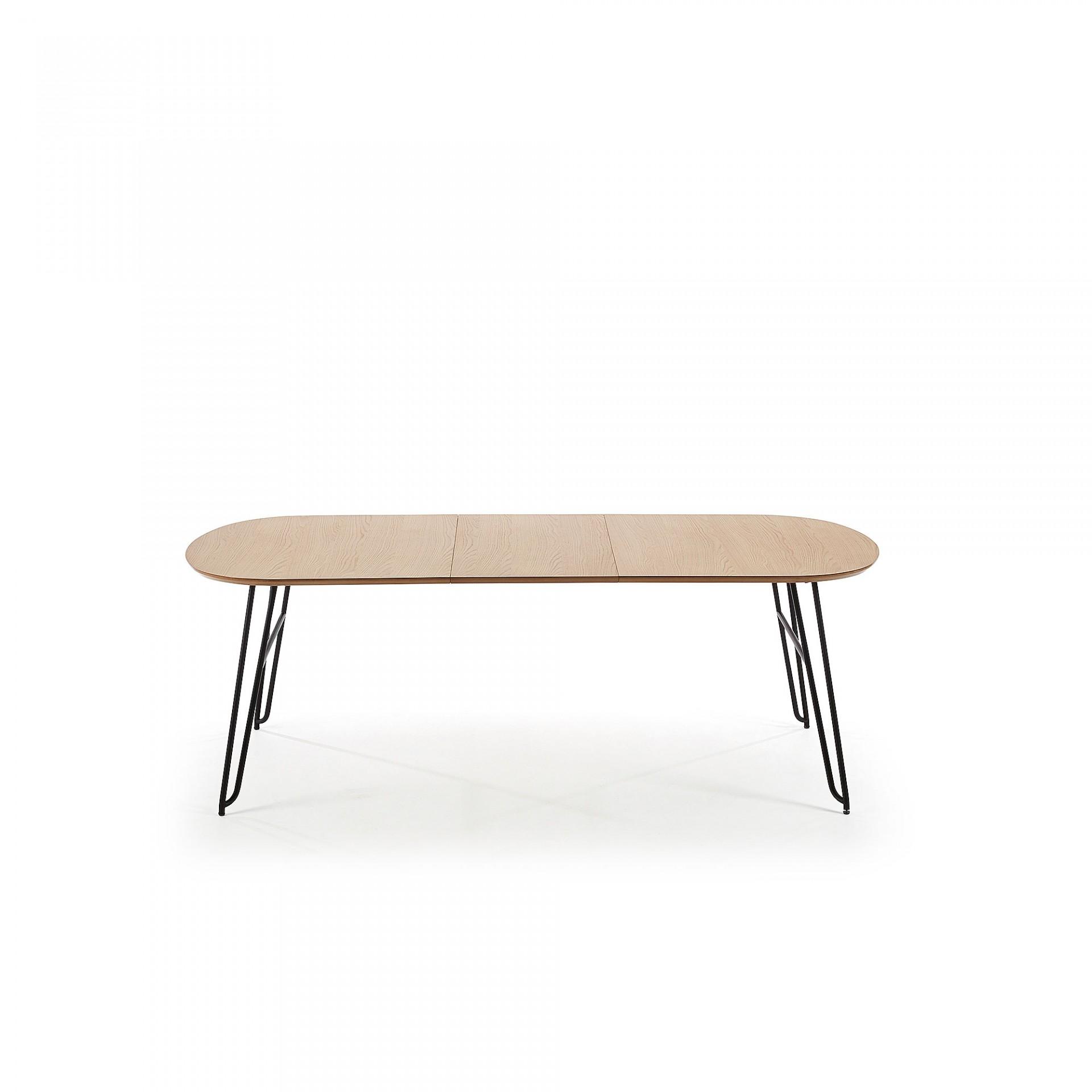 Mesa extensível Novic, madeira de carvalho/metal