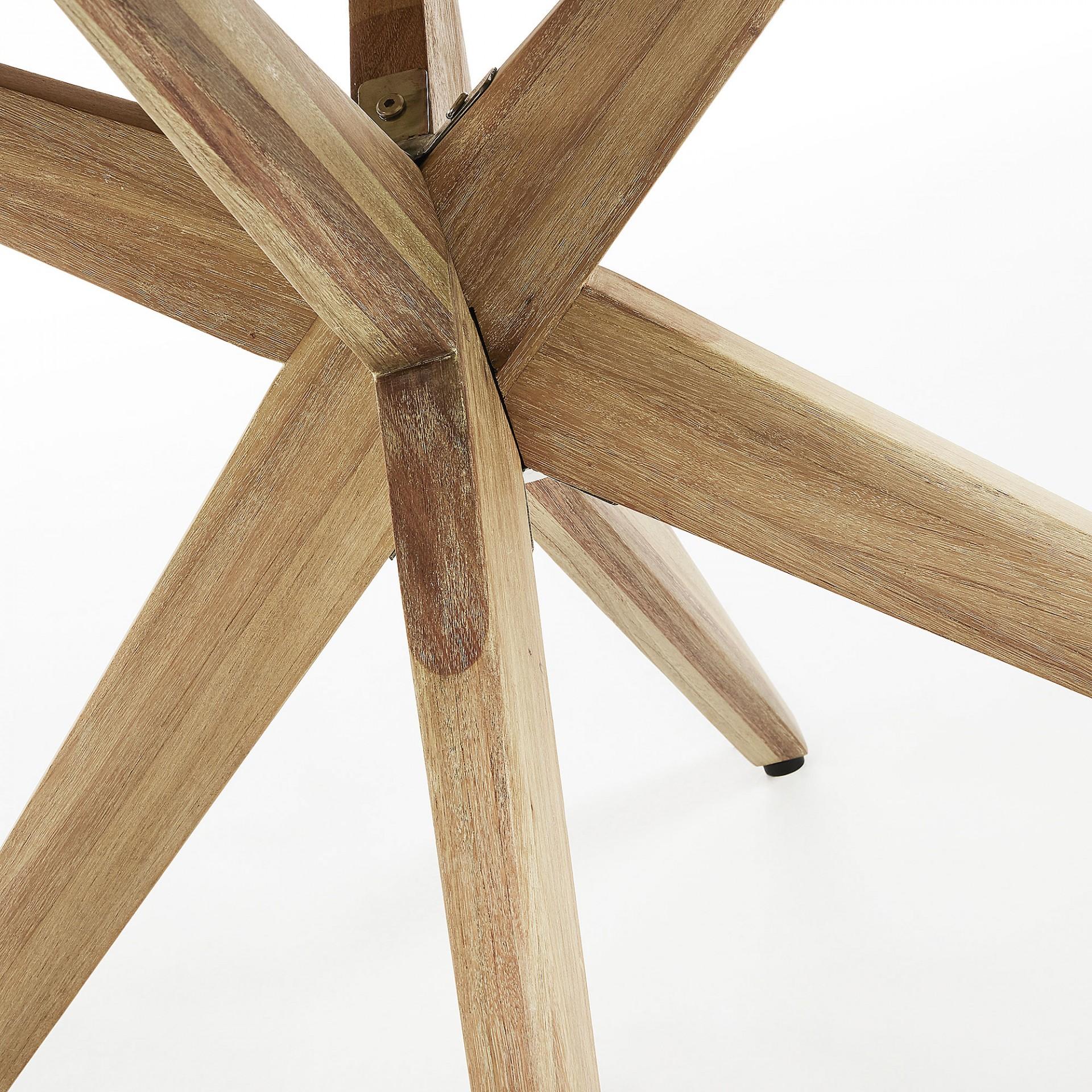 Mesa de jantar Julie, poli-cimento/madeira de eucalipto, Ø120X76