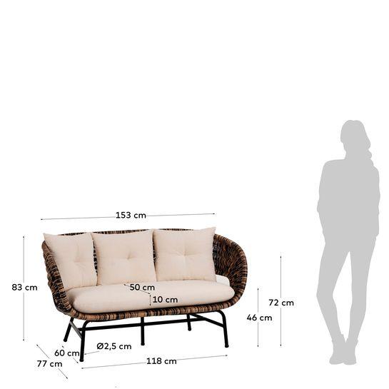 Sofá Lina, 2x lugares, c/almofadas, rattan/metal
