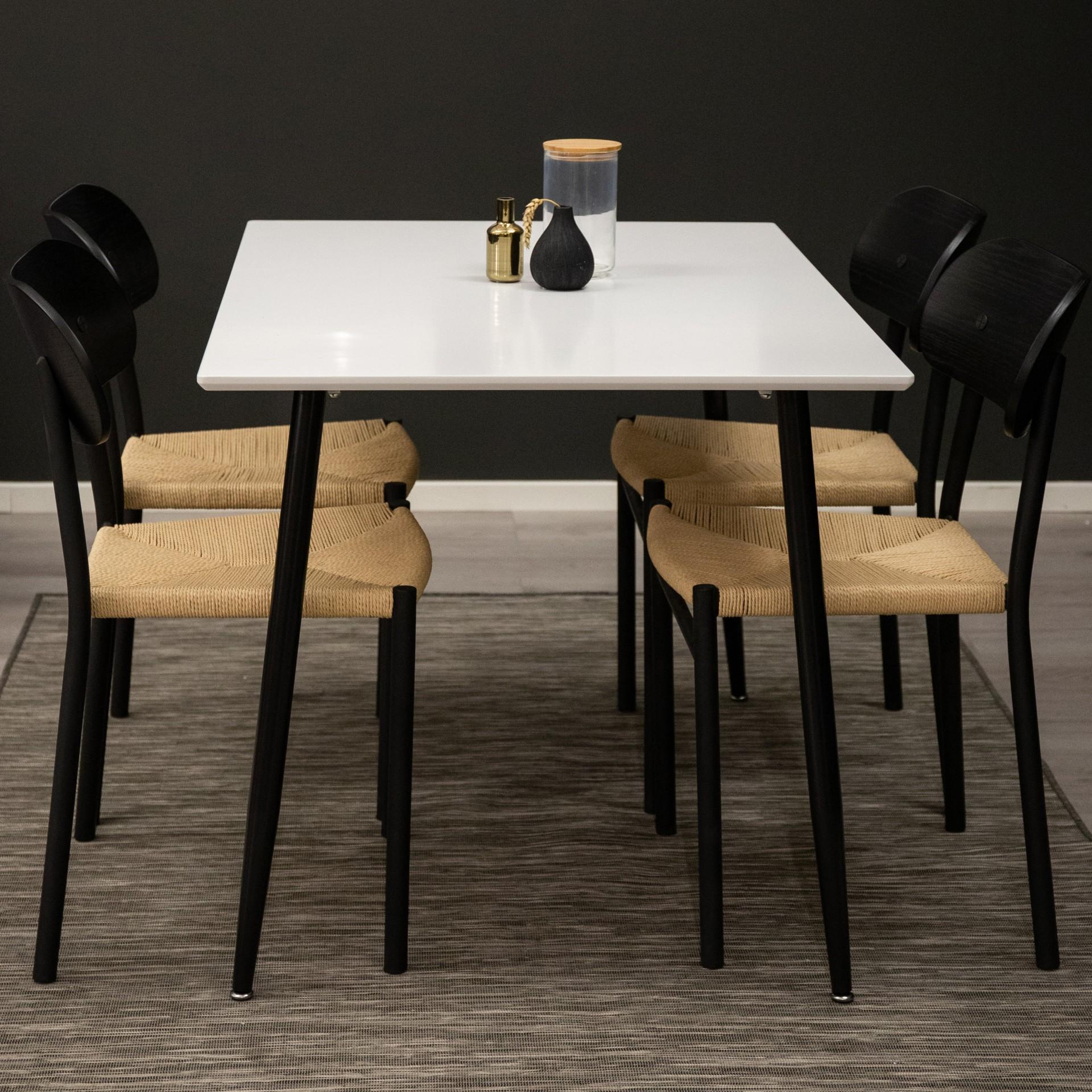 Mesa de jantar Polar, MDF/metal, branco/preto, 120x75