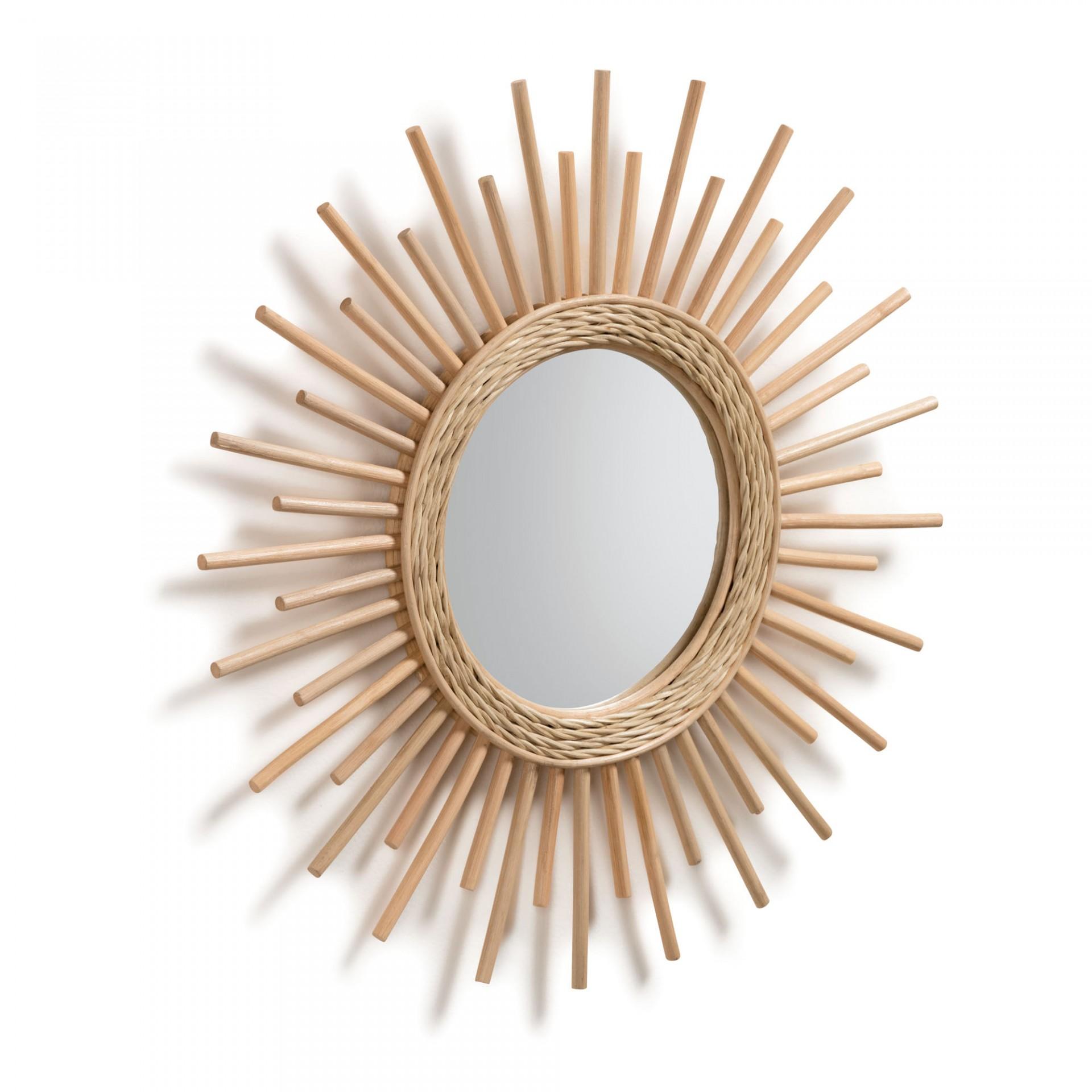 Espelho Minelli, vime natural, Ø60cm