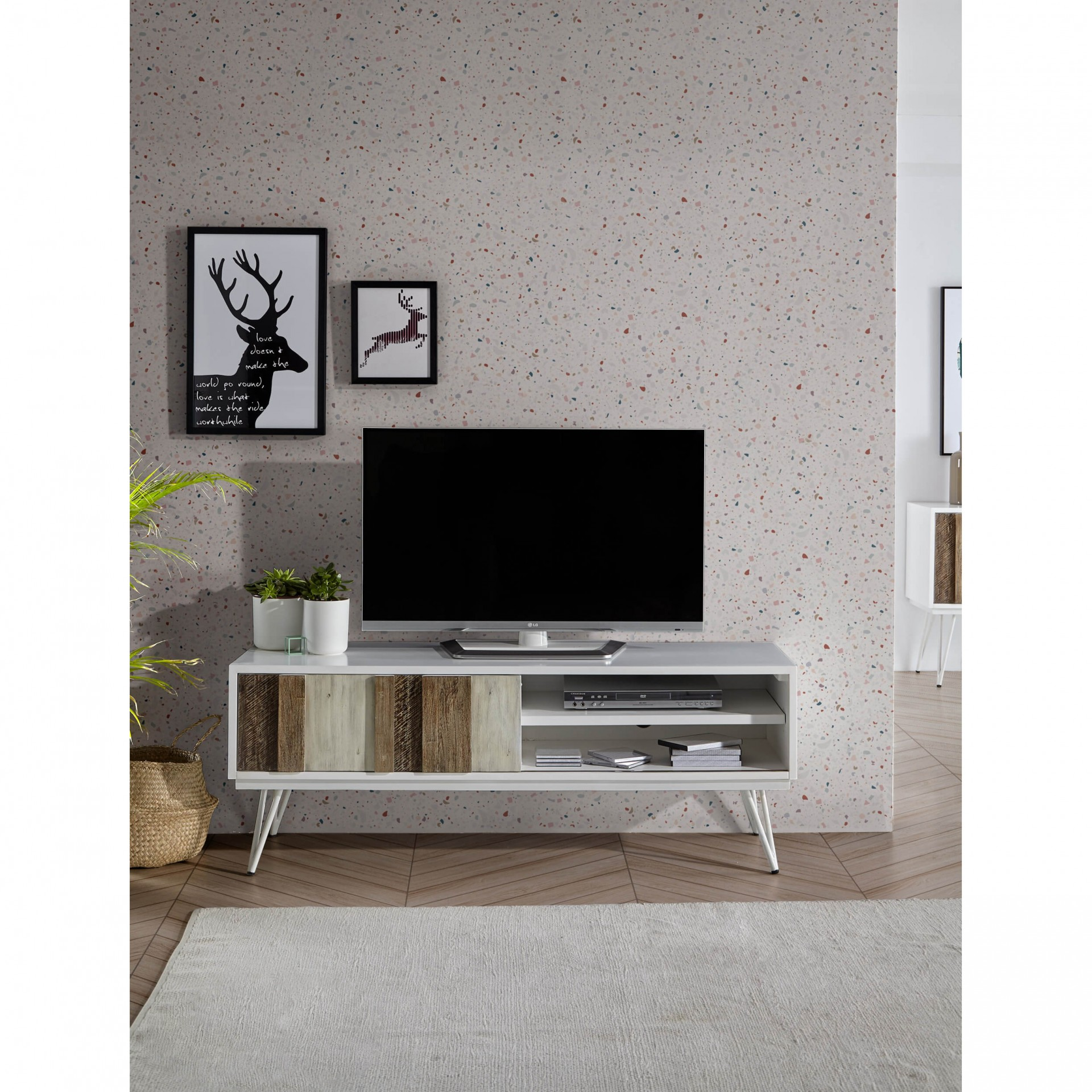 Móvel TV Nice, MDF lacado/madeira acácia, 150x55