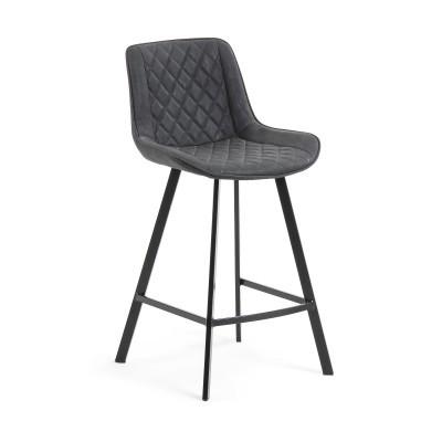 Cadeira de bar Adelia, estofada, pele sintética, 65cm