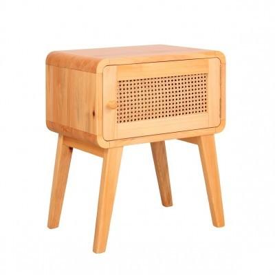Mesa de cabeceira Mutto, madeira de pinho/vime, 50x69