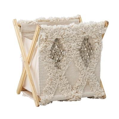Cesto de roupa Sheep, algodão/pinho, bege, 38x40