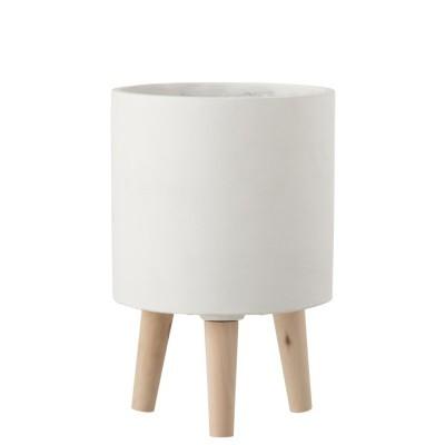 Vaso em cimento/madeira, branco, Ø20x30