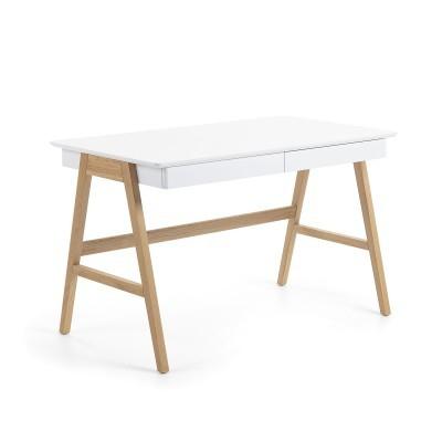 Secretária Dyna, madeira de carvalho/MDF lacado, 120x60x75