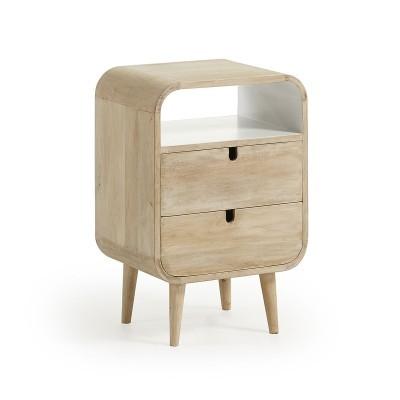 Mesa de cabeceira Geo, madeira de mangueira, 40x61