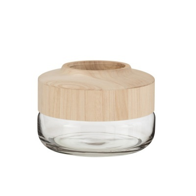 Vaso Wide, madeira manga/vidro, Ø25x18