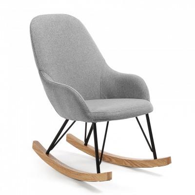 Cadeira de baloiço infantil, acolchoada, cinza