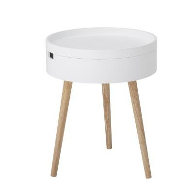 Mesa de apoio Tappa, madeira de pinho/MDF lacado, Ø38x47