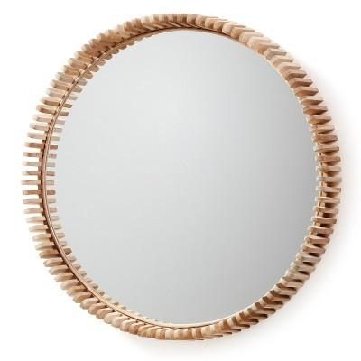 Espelho Polk, madeira teca natural, Ø85cm