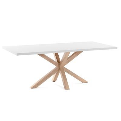 Mesa de jantar Arge, melamina/metal, branco, 160x100