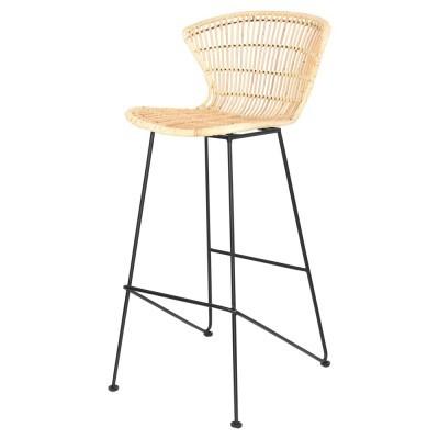 Cadeira de bar Lisa, rattan natural, 74cm