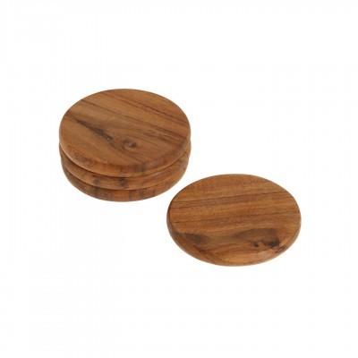 Bases p/copos Nilia, madeira de acácia, Ø10cm, (Conj.4)