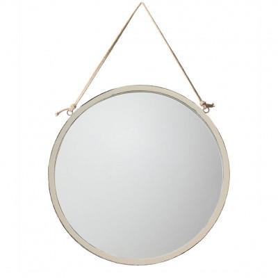 Espelho c/corda em juta, branco, Ø60cm