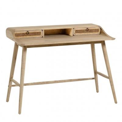 Secretária Kalú, madeira de mindi/rattan, 110x60x86