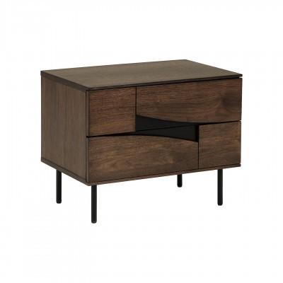 Mesa de cabeceira Cutte, madeira de nogueira/metal, 60x51