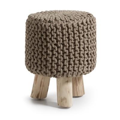 Tamborete forrado em malha de croché, madeira de eucalipto, Ø34x41