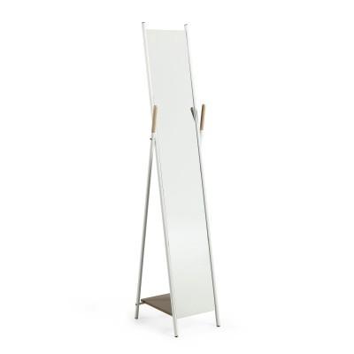 Espelho de pé Cherry, madeira/metal, branco