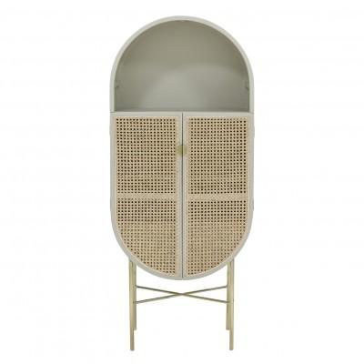 Armário Retro oval, madeira de manga/rattan, cinza, 65x160