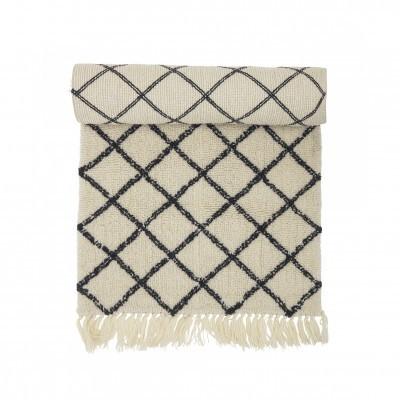 Tapete Berbere, lã natural, branco/preto, 200x70
