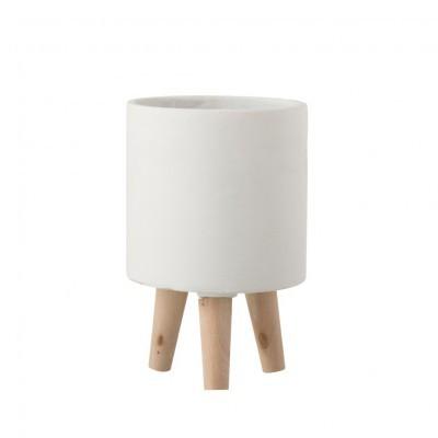 Vaso Poti, cimento/madeira, branco, Ø16x25
