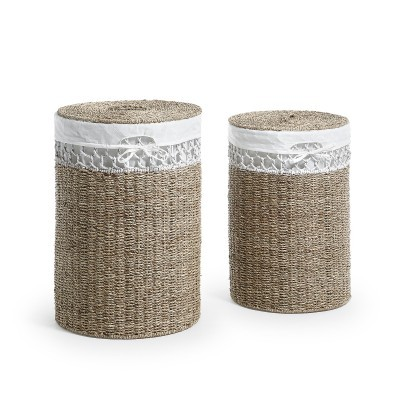 Cestos de roupa Rotha, vime natural, (Conj.2)
