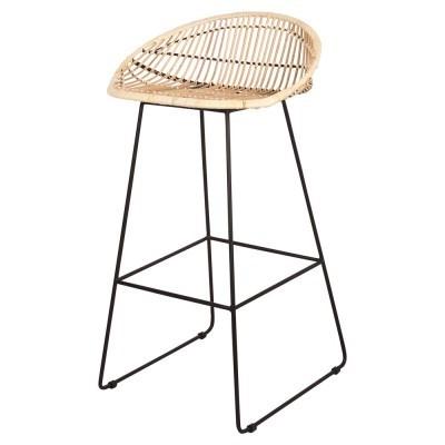 Cadeira de bar Will, rattan natural, 76cm