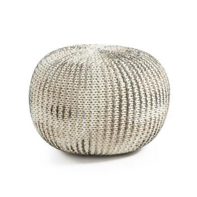 Pufe Shut, malha de croché, branco/prata, Ø45x35