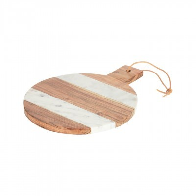 Tábua de cozinha Valeri, madeira de acácia/mármore, Ø25cm