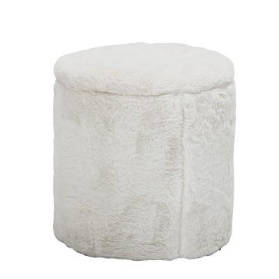 Pufe c/arrumação, poliéster, branco, Ø37x40