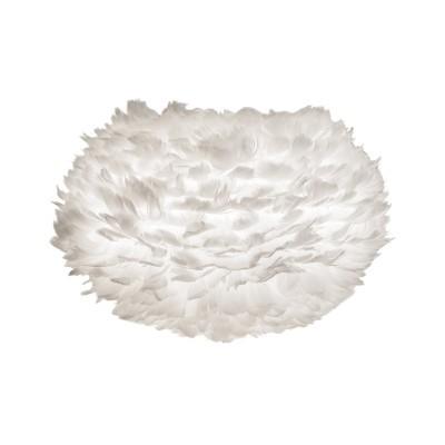 Candeeiro de tecto Eos, penas de ganso, branco, Ø45x30