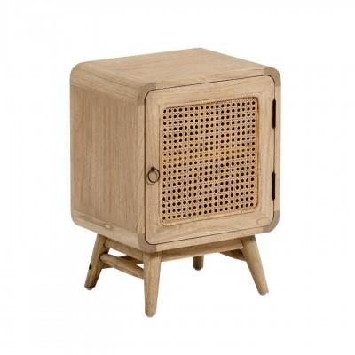 Mesa de cabeceira Kalú, madeira de mindi/rattan, 40x55