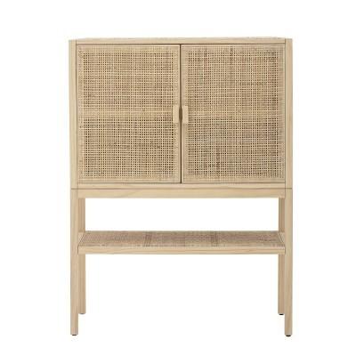 Armário Sanna, madeira de pinho/rattan natural, 90x40x120