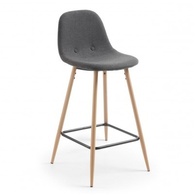 Cadeira de bar Nolita, estofada, cinza escuro