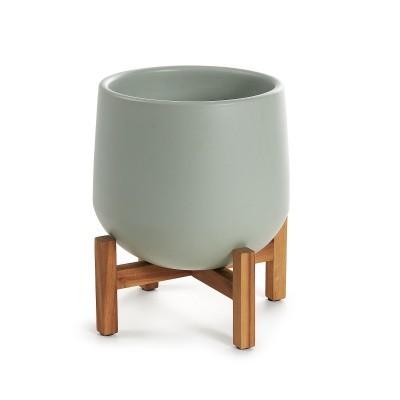 Vaso Olso, cerâmica/madeira de acácia, cinza, Ø29x37