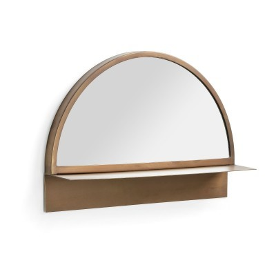 Espelho Club, c/estante, metal, dourado, 50x34