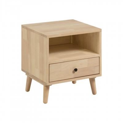 Mesa de cabeceira Wali, madeira de seringueira, 50x54